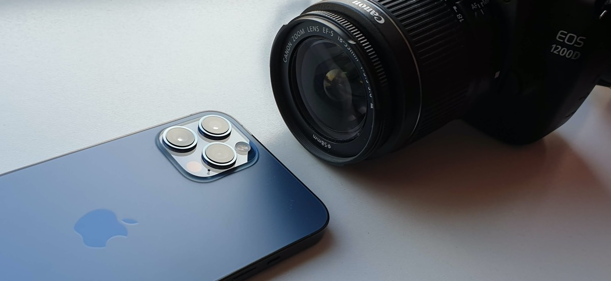 iPhone 12 Pro Max and Canon EOS 1200D DSLR