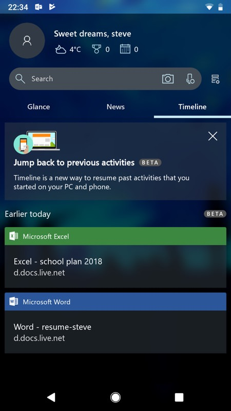 Screenshot, Microsoft Launcher 5 on Android