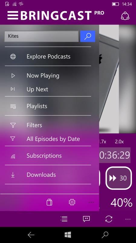 Screenshot, podcatchers